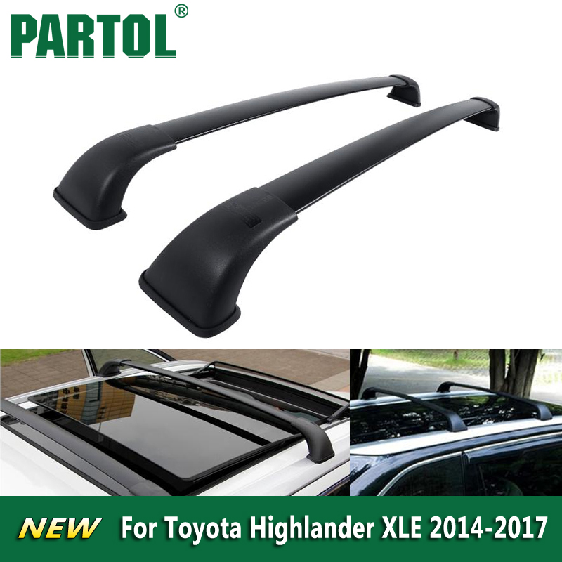 Partol Black <font><b>Car</b></font> Roof Rack Cross Bars Roof Luggage Carrier Cargo Boxes Bike Rack For Toyota Highlander XLE 2014 2015 2016 2017