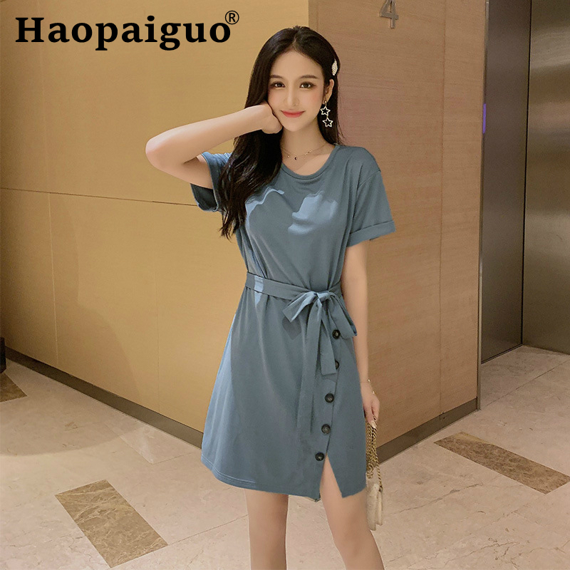 2019 Summer Casual Cotton Dress Women Short Sleeve Split Bandage Bodycon Dress Women Button Wrap Midi Ladies Dress Plus Size