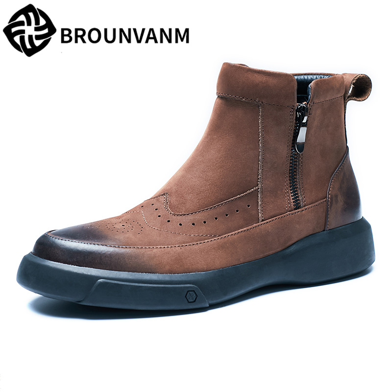 Genuine Leather martin boots mens high top shoes cowhide military boots autumn winter British chelsea boots men cowboy boots