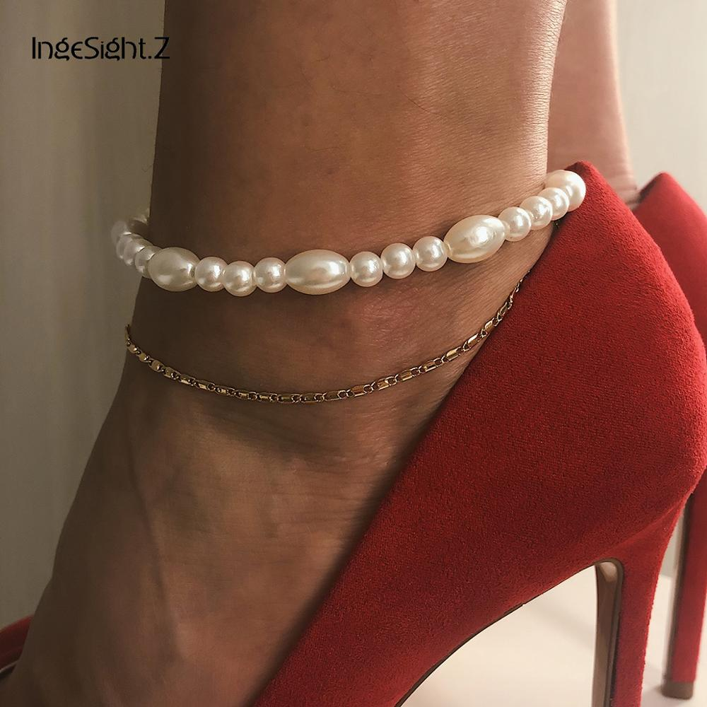 IngeSight.Z Bohemian Multi Layered Simulated Pearl Anklet Bracelet for Women Charm Ankle Chain Barefoot Sandals On Foot Jewelry