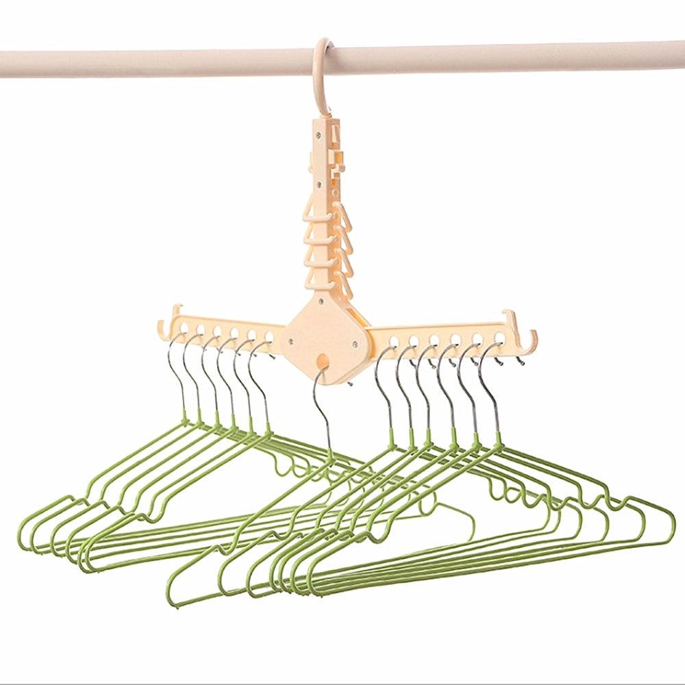JILV Magic Multi-Functional Dual Hanger Folding Clothes Hanger Clothing Drying Rack Multifunctional telescopic hanger
