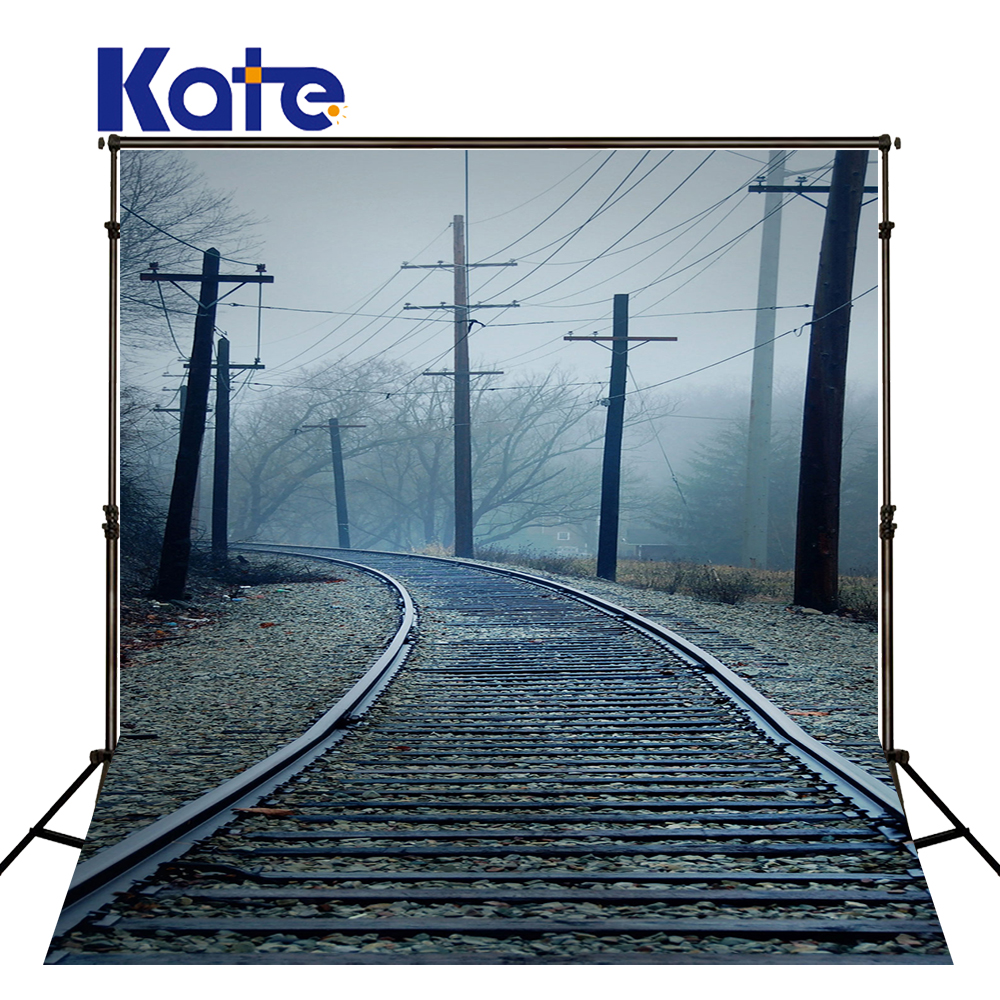 KATE 10X20FT Railway Background Photography Fundo Trees, Telephone Poles Railroad3D Baby Photography Backdrop Background Lk 1911 300cm 200cm about 10ft 6 5ft fundo coco coastal skyline3d baby photography backdrop background lk 1896