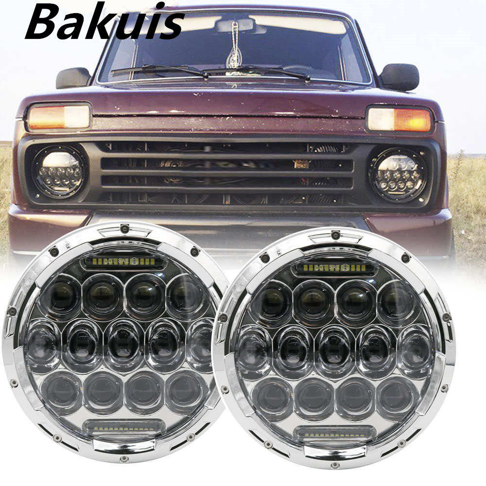 1 Pair Running Lights 75W Car Led H4 7inch Car Accessories Angel Eyes H4 Led Headlight For Lada Niva 4X4 Uaz Hunter image