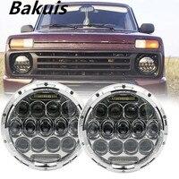 1 Pair Running Lights 75W Car Led H4 7inch Car Accessories Angel Eyes H4 Led Headlight For Lada Niva 4X4 Uaz Hunter