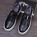 British style mens casual breathable party nightclub soft leather shoes slip on oxfords shoe flat platform loafer zapatos male