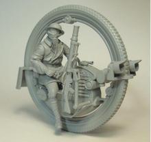 Modèle de guerrier Miniature avec une roue à une roue, 7 têtes, modèle en résine, non peint, 1/35