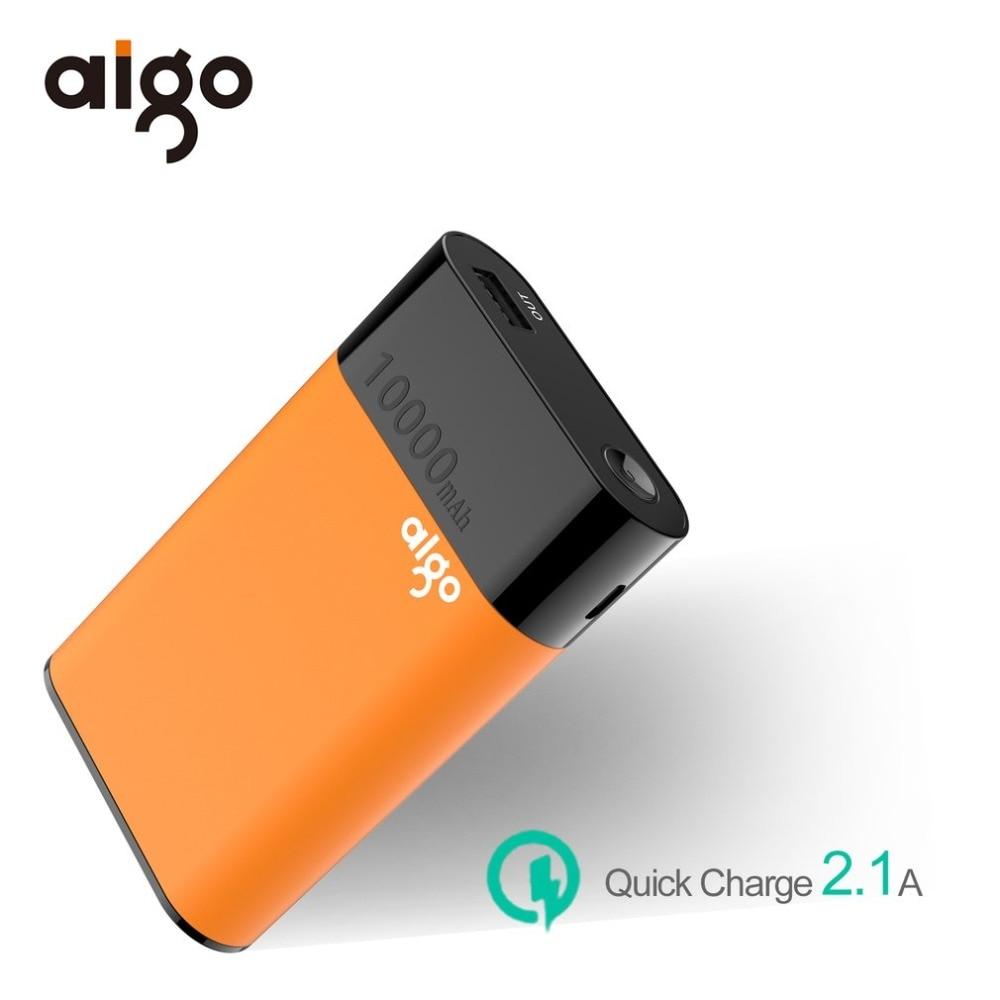 Aigo 10000mAh Mini Power Bank USB Portable Mobile Phone External Battery Charger Powerbank For iPhone X 7 6 6s Xiaomi Poverbank