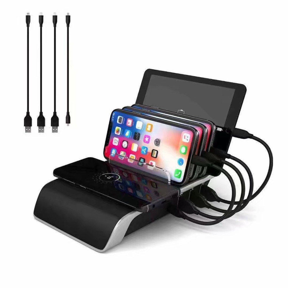 Rápido Carregador Sem Fio Para Iphone Samsung Qc 3.0 Carga Rápida Multi Portas Usb Estação De Carregamento Doca Telefone de Mesa Organizador Múltipla
