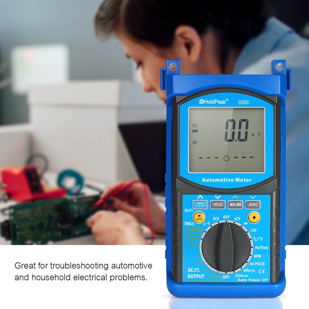 HoldPeak multimètre numérique analyseur de moteur automobile tension compteur de courant testeur de résistance à la capacité voltmètre ampèremètre LCD
