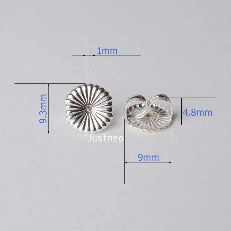 Earnut, 9.3mm (zwykły srebrny) stałe 925 sterling srebrny kolczyk plecami, kolczyk tarcia motyl powrót korek do earstuds