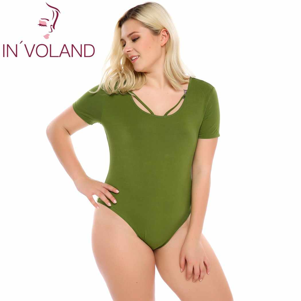 f3984907386f IN VOLAND Women s Sexy Bodysuit Plus Size Summer Short Sleeve Solid Slim  Fit Ropmer One
