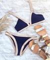 Biquíni 2017 Biquíni de Alta Qualidade Push Up Acolchoado Halter Swimsuit Sexy Strapless Stripe Swimwear Mulheres Brasileiras Bathint Terno