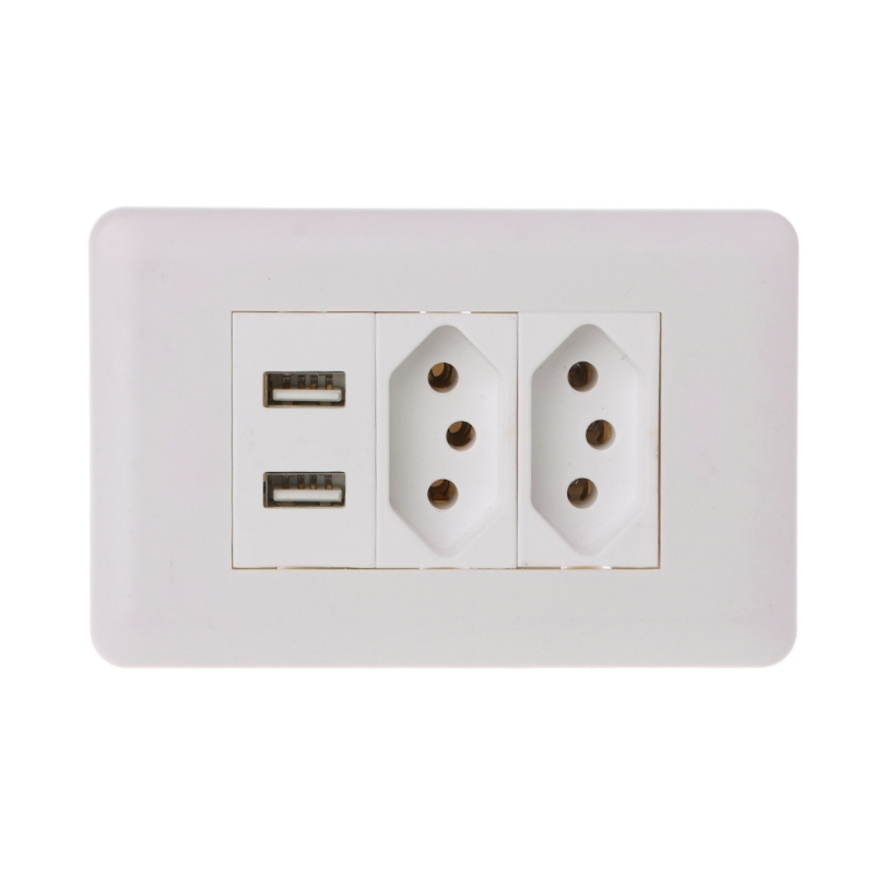 Wall Power Brazil Socket 15A Brasil Standard Double Soquete 5V 2100mA Dual USB Charger Port 115mm*75mm AC 110~250V