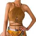 Vintage brown faux leather suede tank top Sexy lace up camis women tops Slim camis crop top fall vest