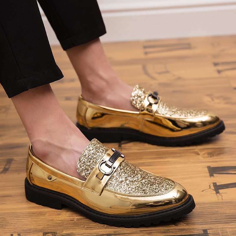 2019 Men Dress Loafers Business Wedding Brand Men Shoes Breathable Style Banquet Sequin Gold Black Male Shoes Chaussure Homme