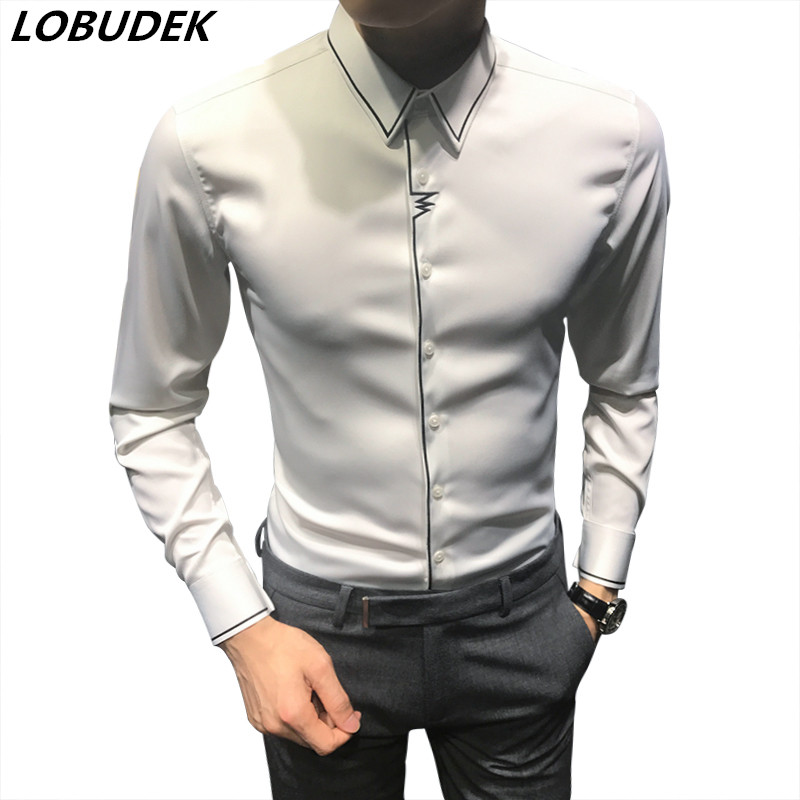 Black White solid color Male Casual Shirts England Spring Autumn Mens long sleeve slim shirt Groom Wedding clothes stage outfit ...
