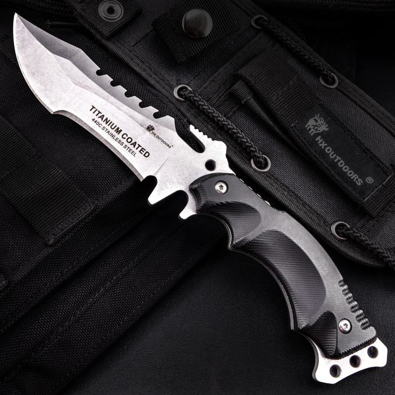 Купить с кэшбэком HX Outdoors Stone Wash TRIDENT 440C Stainless Steel Camping Hunting Army Survival Knife Outdoor Tools 58HRC Tactical Knives