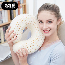 AAG Natural latex Pillow Soft U Shape Travel Office Car Airplane Neck Cushion Cervical Spine Neck Protect Neck Headrest Pillow. все цены