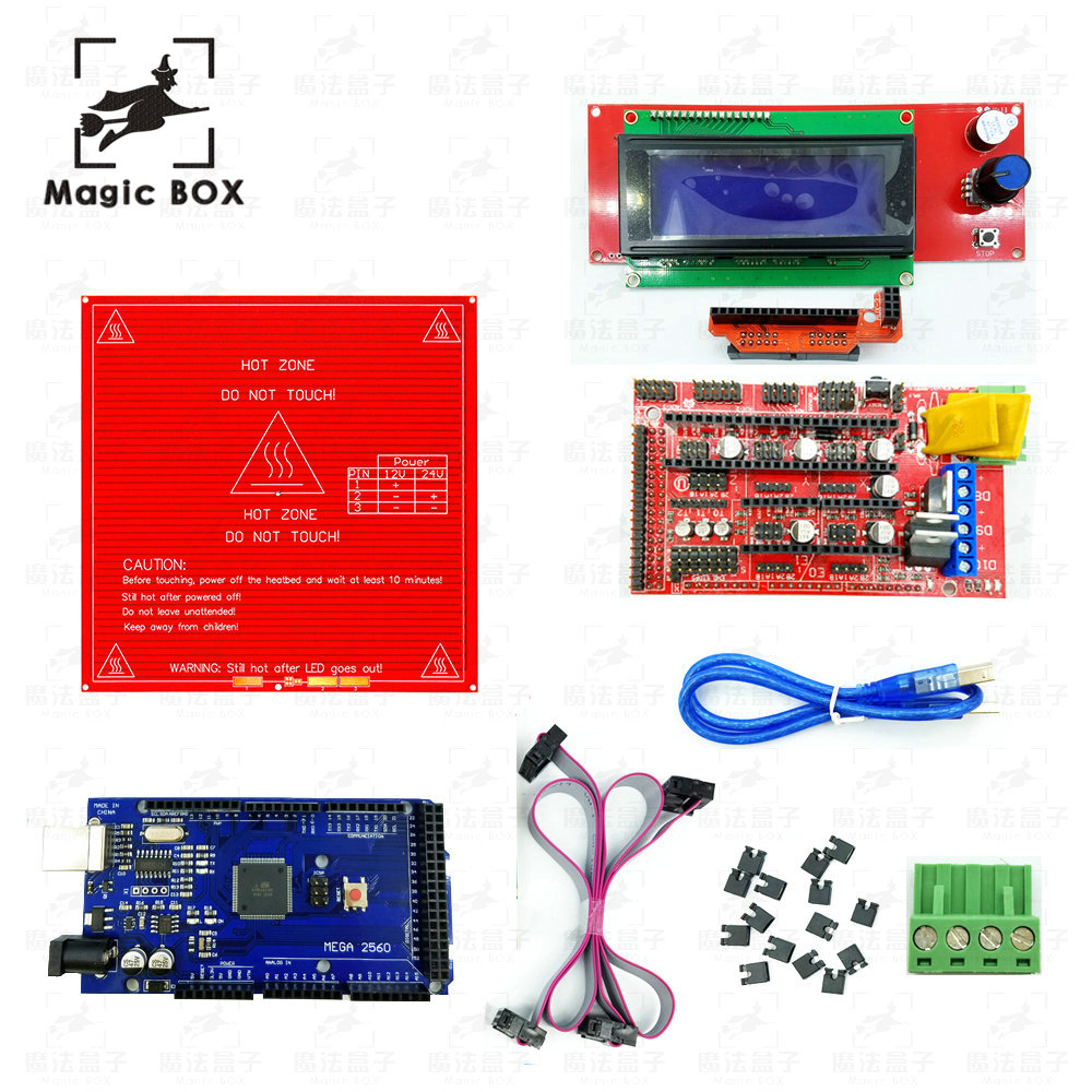 Heated Bed MK2B + RAMPS 1.4 Controller Control Panel + LCD 2004+Mega 2560 R3 Development Board 3D Printer parts Kit ramps 1 4 control board mega 2560 r3 panel 2004 lcd display screen kit for 3d printer