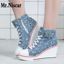 font b Women b font Wedges Causal Shoes Increase Height Woman Breathable Platform Denim Canvas
