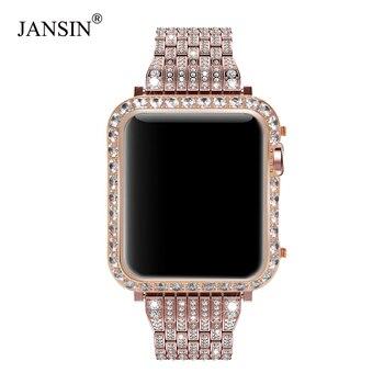 Роскошный Металлический Алмазный чехол для Apple Watch Series 4 3 2 1 браслет для наручных часов из нержавеющей стали для браслет для iwatch 38 42 мм 40 44 мм