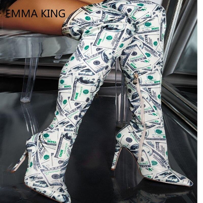 Mode Femme Dollars Ceinture Longues 2018 Haute Dames Genou Bout Chaussures Toile Pointu Bottes Nouvelle Sur Cuisse Hr4Z0gH