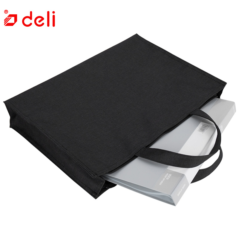 Deli Canvas File Folder Document Bag Business Briefcase A4 Paper Storage Organizer Bag Stationery School Office Supplies Student deli 1pcs waterproof business a4 paper file folder bag high quality pu document rectangle office home school folder supplies
