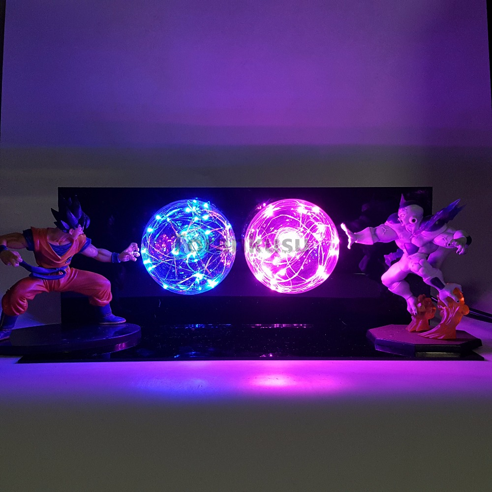 Dragon Ball Z Son Goku VS Freeza Super Saiyan Anime Dragon Ball Super Figurine Toy Action Figures DBZ Led Light Table Lamp