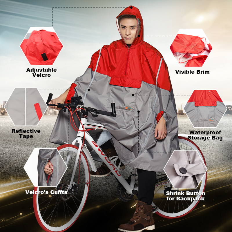 QIAN Impermeable Raincoat Women/Men Outdoor Rain Poncho Backpack Reflective Design Cycling Climbing Hiking Travel Rain CoverQIAN Impermeable Raincoat Women/Men Outdoor Rain Poncho Backpack Reflective Design Cycling Climbing Hiking Travel Rain Cover