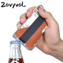 ZOVYVOL NEW 2019 Genuine Leather Credit Card Holder Metal RFID Aluminium Box Vintage Blocking Mini Magic Business Wallet