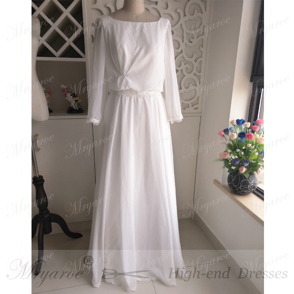 Mryarce Chiffon Summer Hippie Style Wedding Dress Long Flare Sleeves Open  Back Boho Chic Rustic Bridal ... 91bcde8a19ca