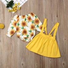 Комплект одежды для маленьких девочек; коллекция года; одежда для малышей; осенний костюм с длинными рукавами и изображением подсолнуха; желтая юбка на бретелях; комплект из 2 предметов