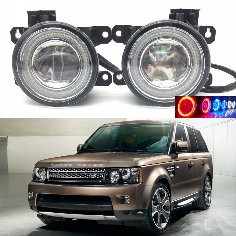 Car Styling 2 in 1 LED Angel Eyes DRL Daytime Running Lights Cut-Line Lens Fog Lamp for Land Rover Range Rover Sport 2009-2013 eemrke led angel eyes drl for suzuki aerio liana 2005 2006 2007 fog lights daytime running lights h3 55w halogen cut line lens