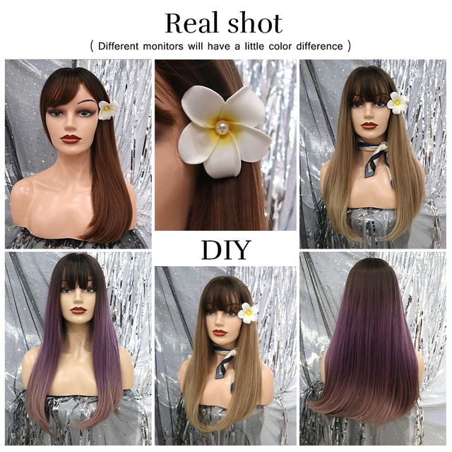 Element 22 inch Long Synthetic Wig with Bangs High Density Dark Root Natural Headline Heat Resistant Hair Wigs for Women 3 Color 2
