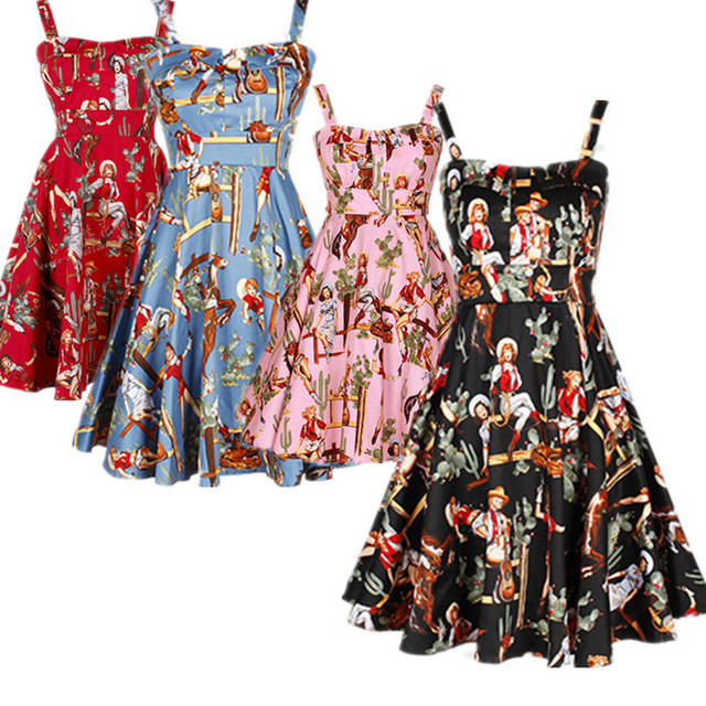 40 summer women vintage 50s retro rockabilly pinup cowgirl print halter swing  dresses plus size vestidos braces jurken-in Dresses from Women s Clothing  on ... 733056bc4663