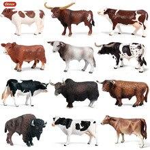 Oenux 귀여운 농장 동물 우유 암소 시뮬레이션 가금류 가축 송아지 황소 액션 피규어 컬렉션 Pvc 러블리 모델 장난감 키즈 선물