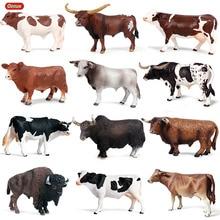 Oenux animaux de ferme en Pvc, Simulation de vache au lait, volaille, veau, taureau, boeuf, Collection de figurines daction, joli modèle, cadeau pour enfants