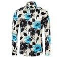 Мужчины марка цветочные рубашки Большой размер м-3xl 2016 весной новое поступление дизайнер хлопок мужчины с длинным рукавом свободного покроя рубашки Vetement Homme
