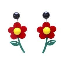 2019 New Fashion Women Acrylic Flower Earrings Long Korean Modern Jewelry Red White