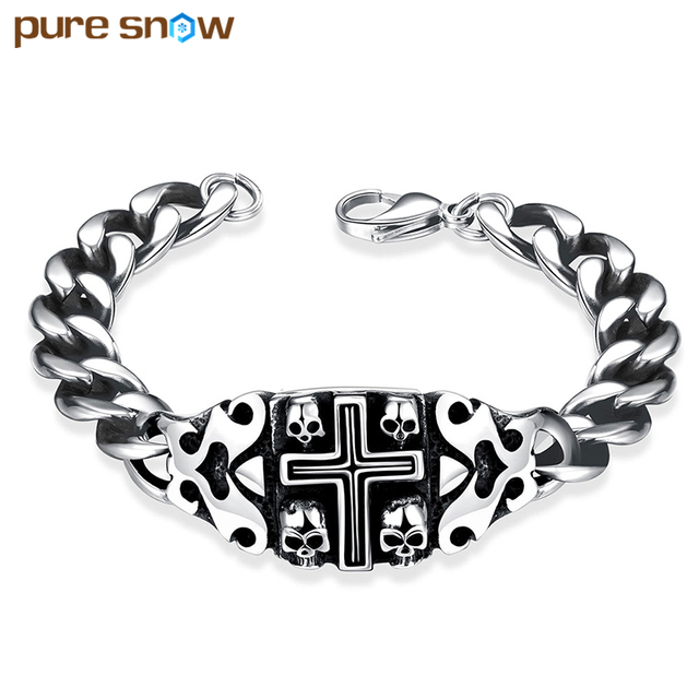 Pure Snow Stainless Steel Skull Bracelet Fashion Mens Famous Brand Retro Cross Bracelets Bangles