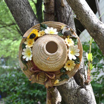 American pastoral village resin straw hat bird s nest hanging a bird house villa garden decorative