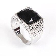 DoreenBeads цинковый сплав Серебряный тон печатка ненастраиваемые мужские кольца смола черный квадратный подарок на день отца 19,1 мм(американский размер 9), 1 шт