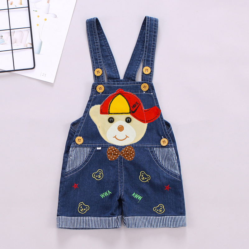 DIIMUU 2019 Toddler Baby Clothing Boys Girls Overalls Denim Pants Shorts Casual Printing Cartoons Trouseres Kids Clothes Bottoms in Overalls from Mother Kids