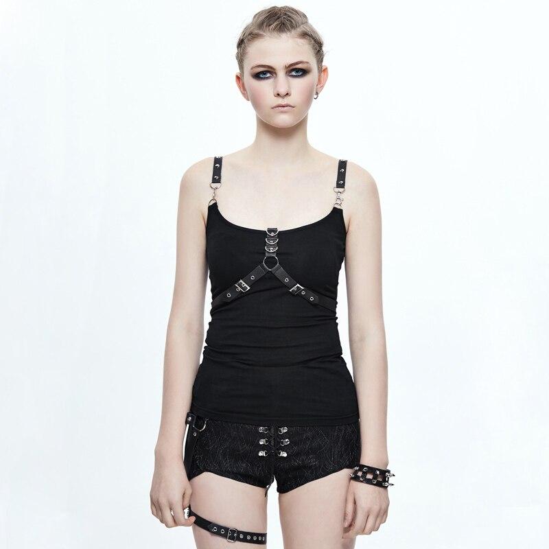 Devil Fashion Steampunk Two Shoulder Straps Women Vest Gothic Black Sleeveless Slim Fitting T Shirt Tops