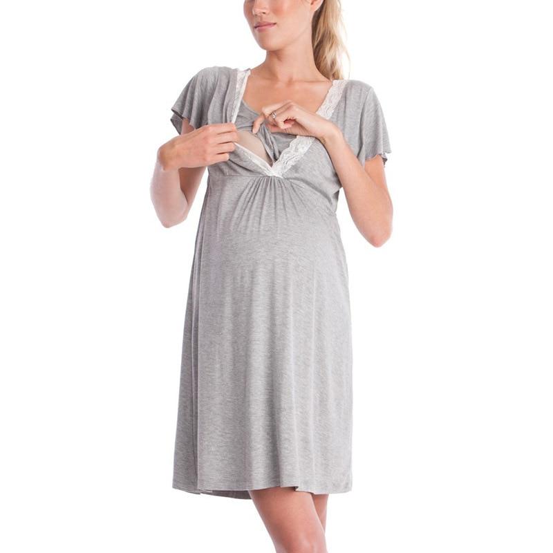 Women Maternity Dress Pregnancy Clothes Nursing Nightdress Pajamas Breastfeeding Dress Fashion Lace Stitching Causal Style