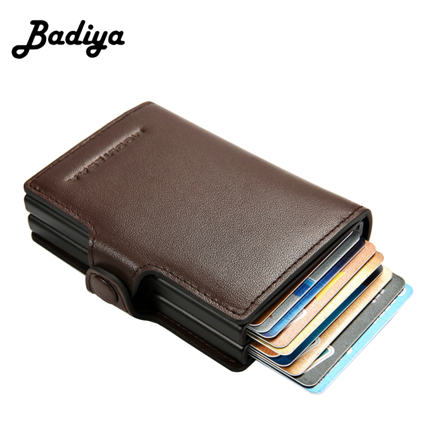 RIFD Credit Card Holder Men Genuine Leather Business Wallet Male Automatic Pop Up Aluminum Card Case Organizer Metal Purse