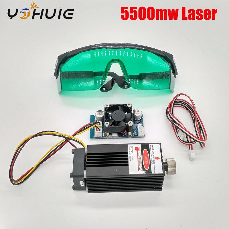 5.5 ワット 450nm 青色レーザーモジュール、レーザー彫刻機械部品、レーザー切断 TTL モジュール 5500 メガワットレーザーチューブ  グループ上の ツール からの 木工機械部品 の中 1