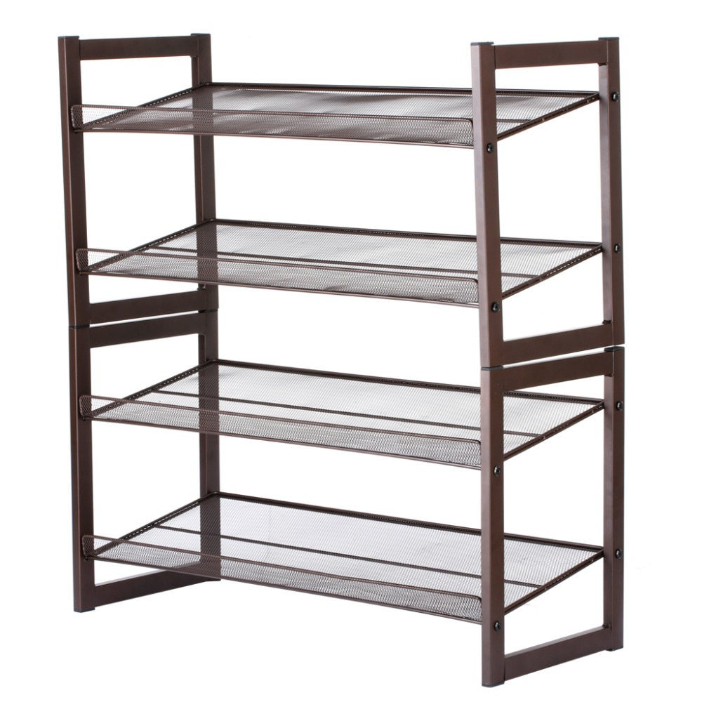 LANGRIA 4 Tier Bronze Iron Metal Angled wire mesh shelves Dustproof ...