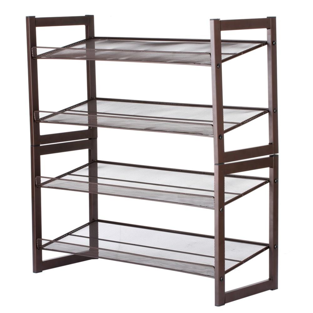 LANGRIA 4 Tier Bronze Iron Metal Angled wire mesh shelves