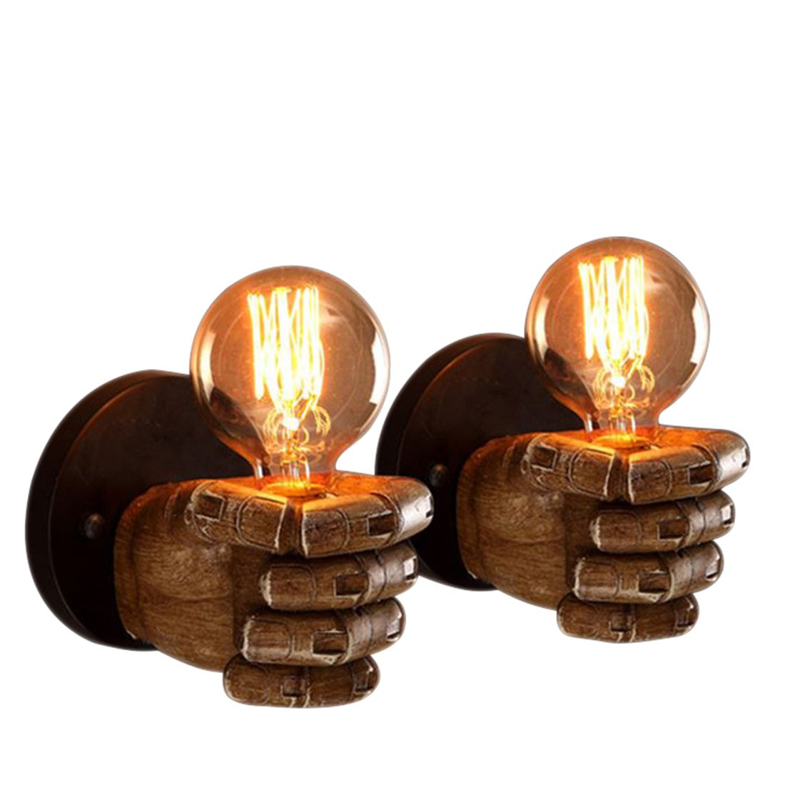 1 Pair of Left and Right Hand Retro Creative Fist Resin Wall Lamp Loft Industrial Style Lamp Dec Sushi Restaurant Bar Restaurant недорго, оригинальная цена